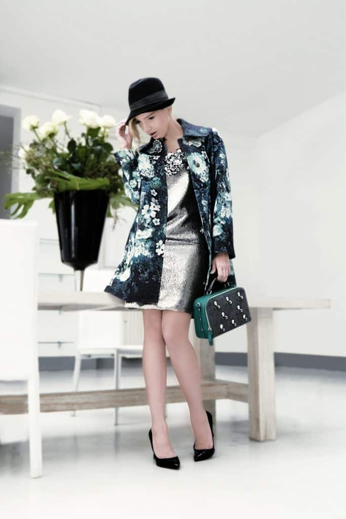 look 2 The flower coat over sequin dress (1)