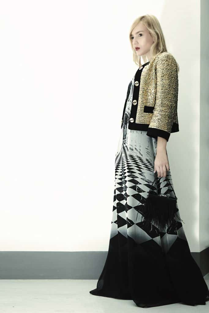 look 1 box jacket over long printed dress (2)